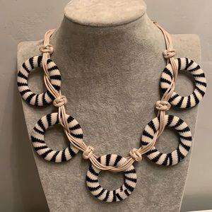 NWT Boho Tribal Fabric Wrapped Ring Necklace